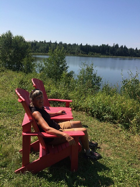 Elk Island Linda in red chairs