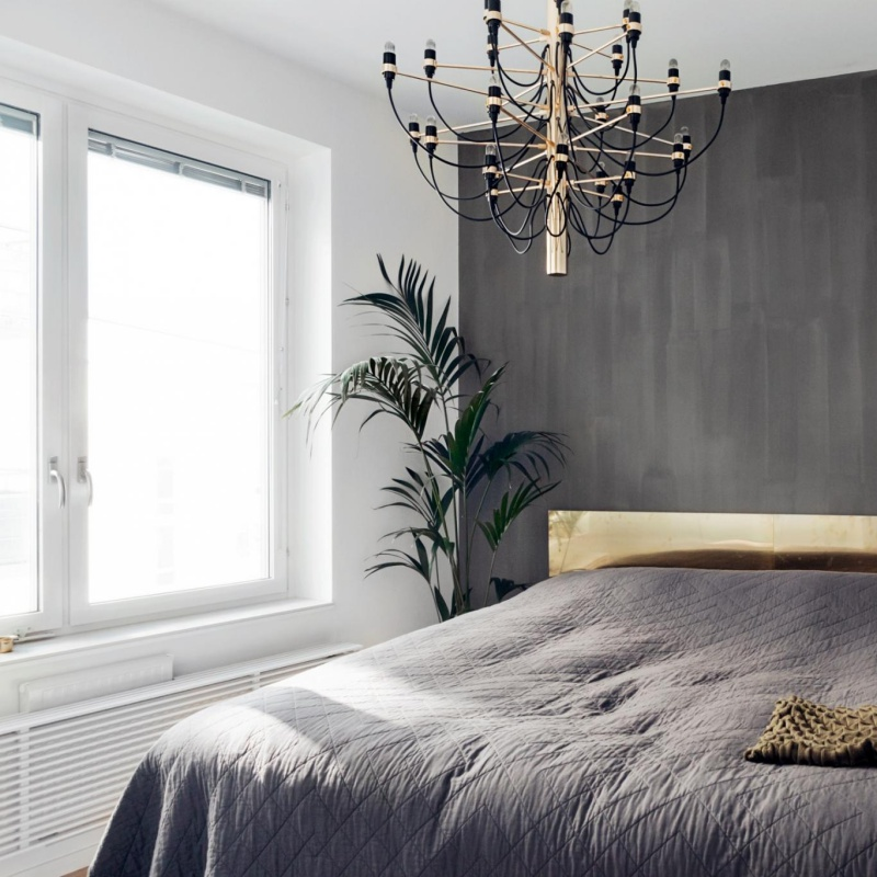 Simple Scandinavian Home With Grey Bedroom