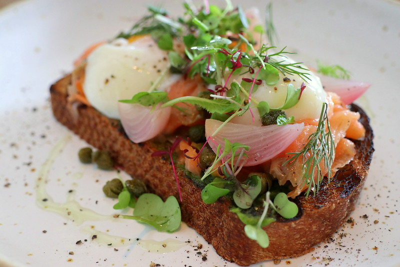 Smoked Salmon, Sous Vide Egg, Capers, Pickled Shallots, Rye (S$20)