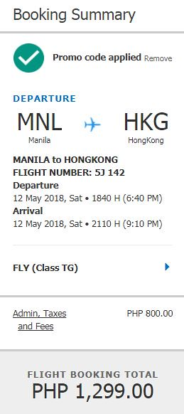 Manila to Hong Kong May 12, 2018 Cebu Pacific Air Promo
