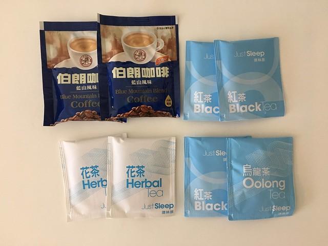 飲料是烏龍茶、紅茶、花茶、伯朗咖啡@宜蘭捷絲旅礁溪館