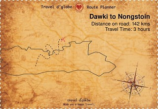 Map from Dawki to Nongstoin