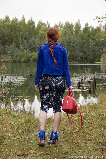 OOTD Esprit Steve Madden Fringly Sandals Mango Jacket Marks & Spencer skirt hapsukengät sähkönsininen takki kengät korkokengät tyylibloggaaja DKNY Bag