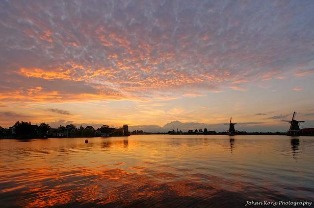 Sunset at river De Zaan