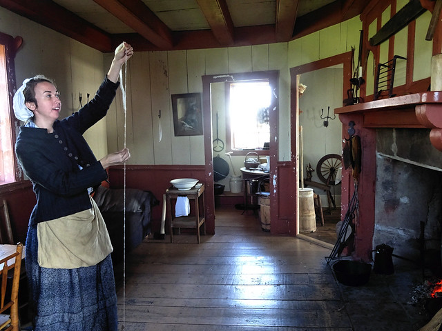 Mid 19c farmhouse matron hand spinning