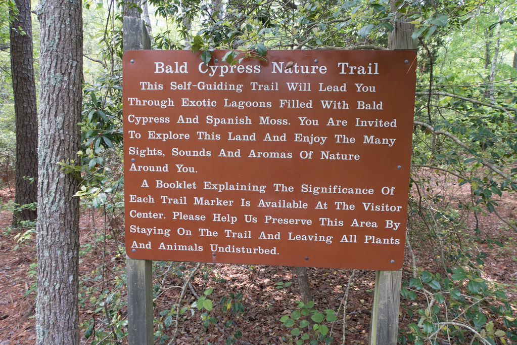 Sign for Bald Cypress trail at First Landing State Park