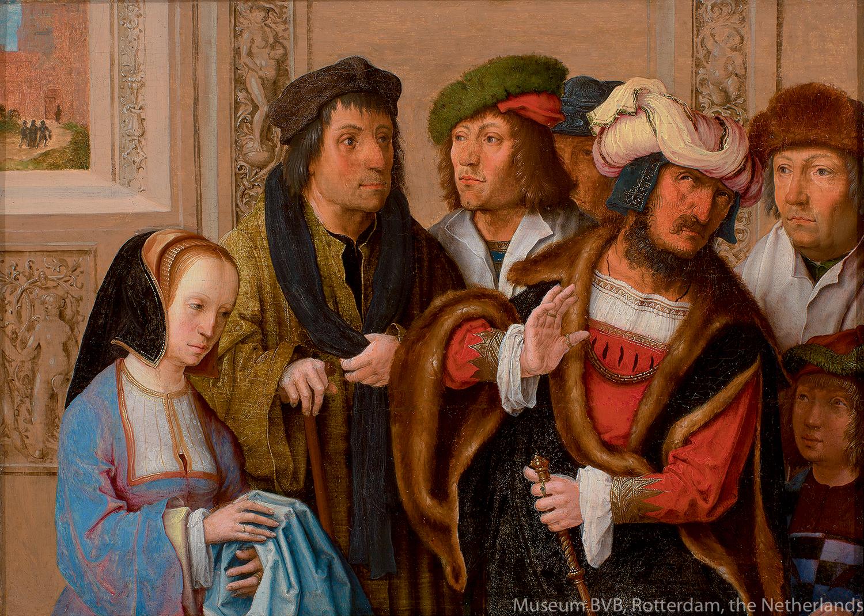 ルカス・ファン・レイデン《ヨセフの衣服を見せるポテパルの妻》(1512年頃)