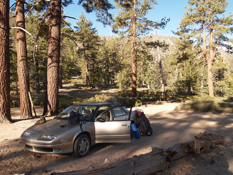 Our car in the forest at the Fish Creek Trail parking area