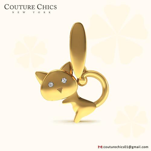 Natural Diamond Pave Cat Pendant Handmade 18k Yellow Gold Jewelry