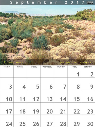 September 2017 Calendar: Pittman Wash #henderson #lasvegas #rtcities