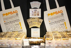The New York Times Film Club and Pipsnacks' Cheddar, Sea Salt, and Truffle flavored popcorn table display
