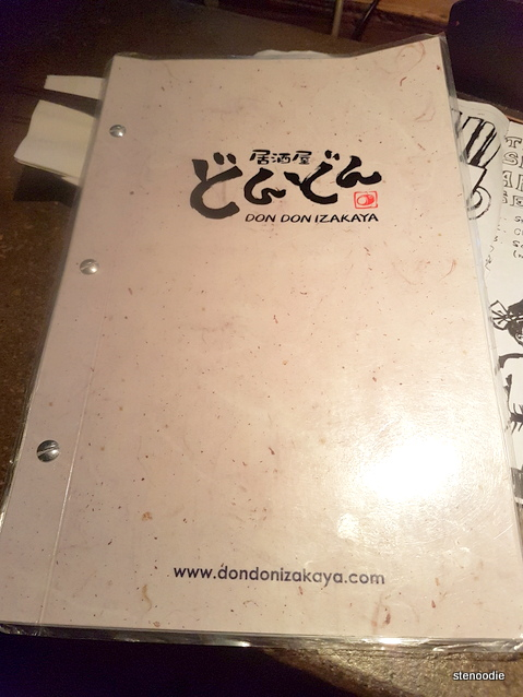 Don Don Izakaya menu cover