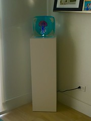 White Laminate Pedestal with Spotlight