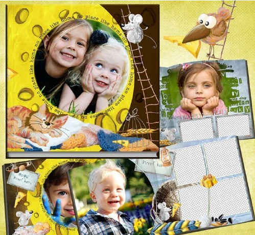 Children photobook for Photoshop, the cheese house in PSD