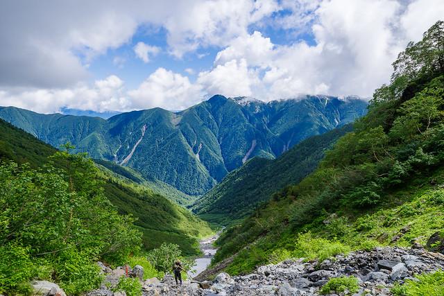 大樺沢上部より鳳凰三山を眺める