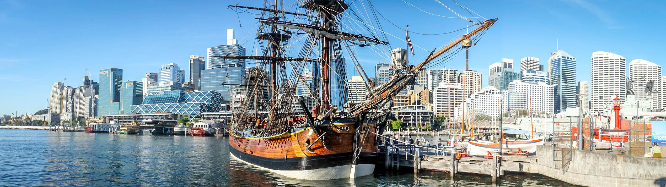 HM Bark Endeavour replica in Sydney Harbour