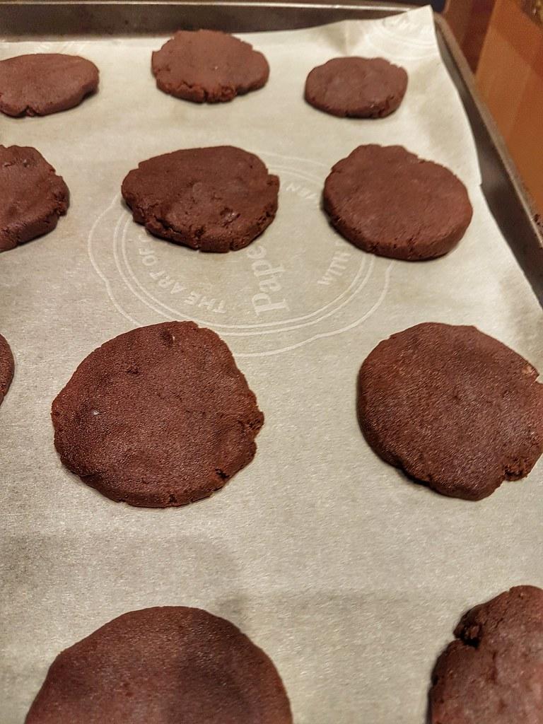 Double chocolate sea salt cookies post bake