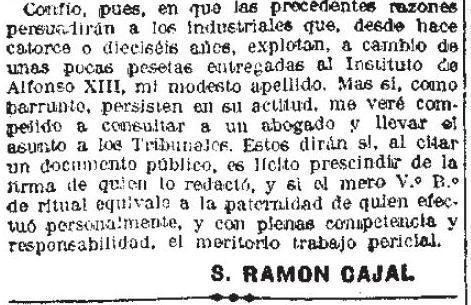 Queja de Ramón y Cajalcontra la Venta del Hoyo en La Libertad el 22 de abril de 1926