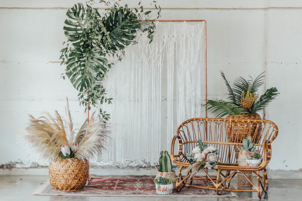 Rattan Bench, Woven Baskets, Macrame Backdrop