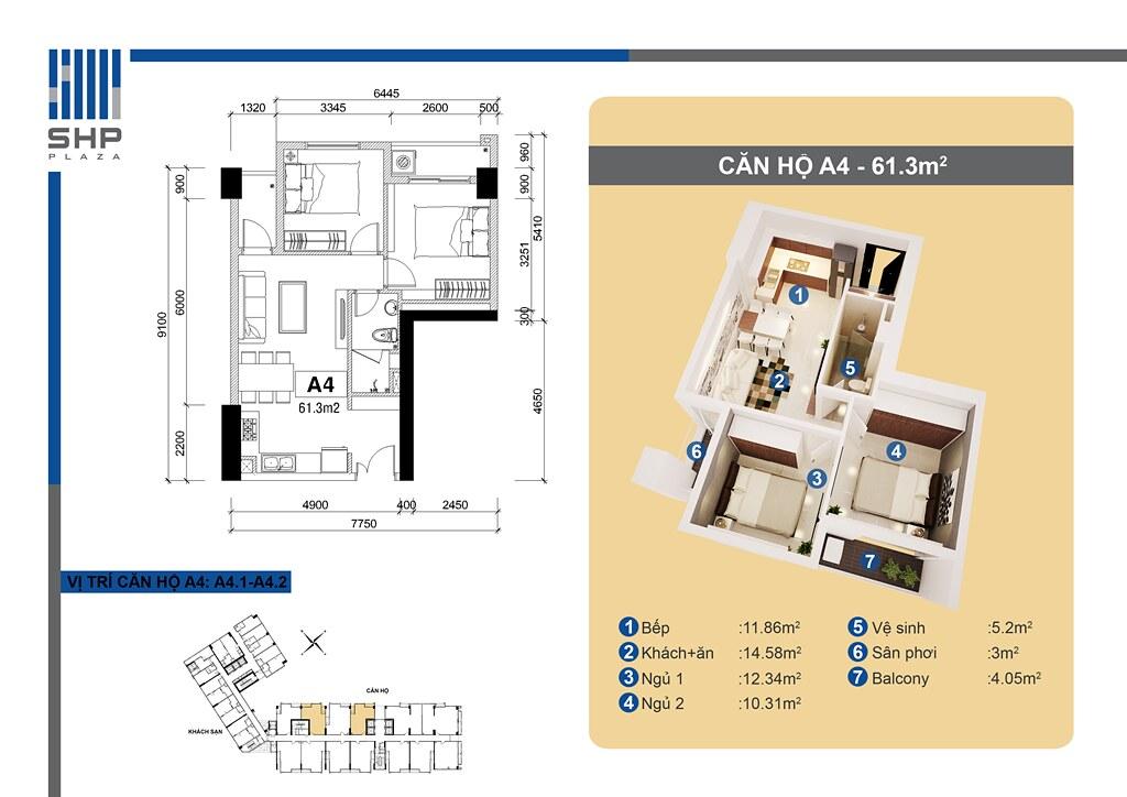 """Mẫu A4 - loại 61.3m2 - Tòa nhà cho thuê căn hộ SHP - Mẫu chi tiết  <img src=""""images/"""" width="""""""" height="""""""" alt=""""Công ty Bất Động Sản Tanlong Land"""">"""