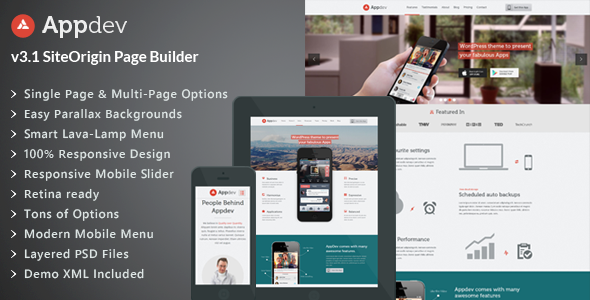 Appdev v3.7 – Mobile App Showcase WordPress Theme