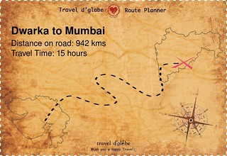 Map from Dwarka to Mumbai