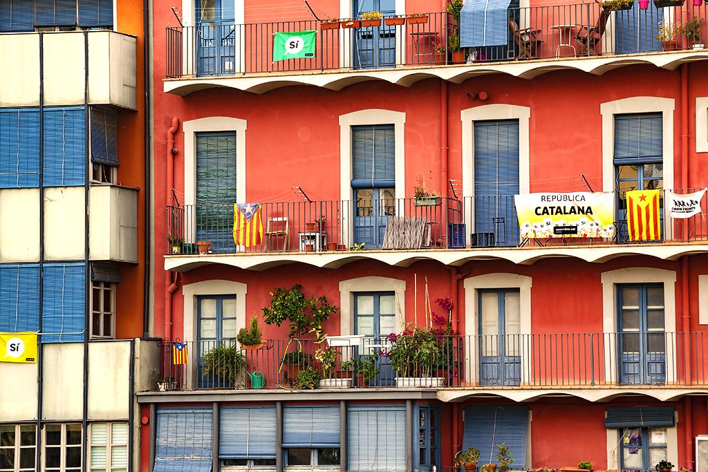 Catalan flags on balconies--Girona
