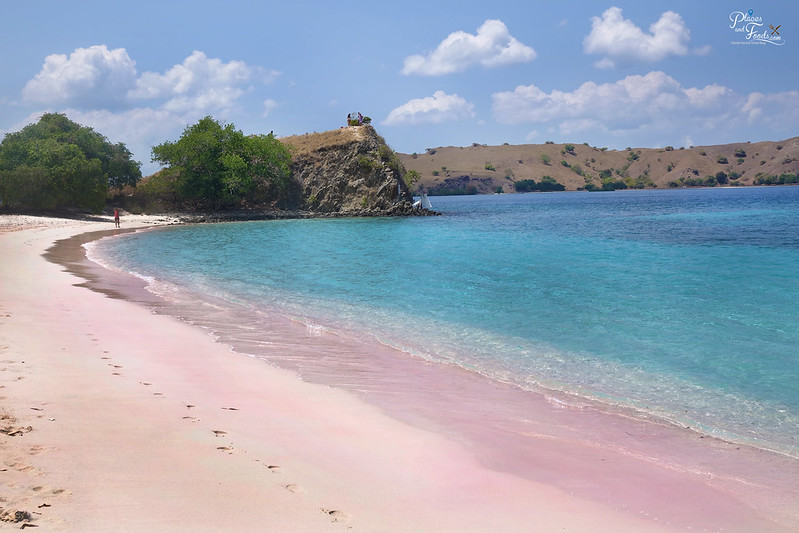pink beach side view