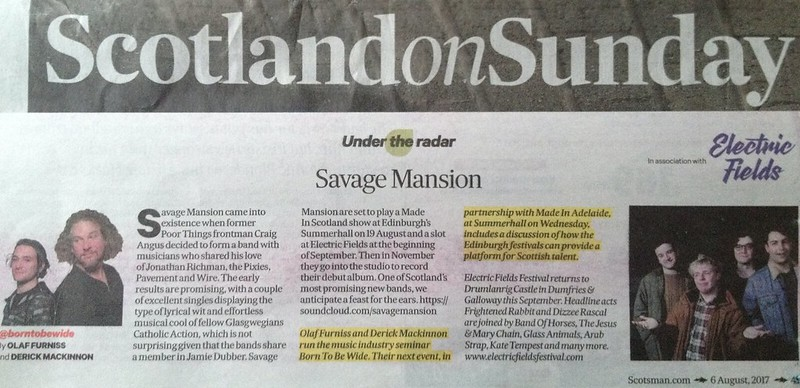 Scotland On Sunday, 6 August 2017, Savage Mansion