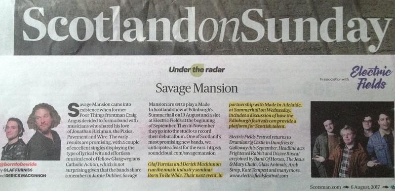 Scotland On Sunday, 6 August 2017, Savage Mansion