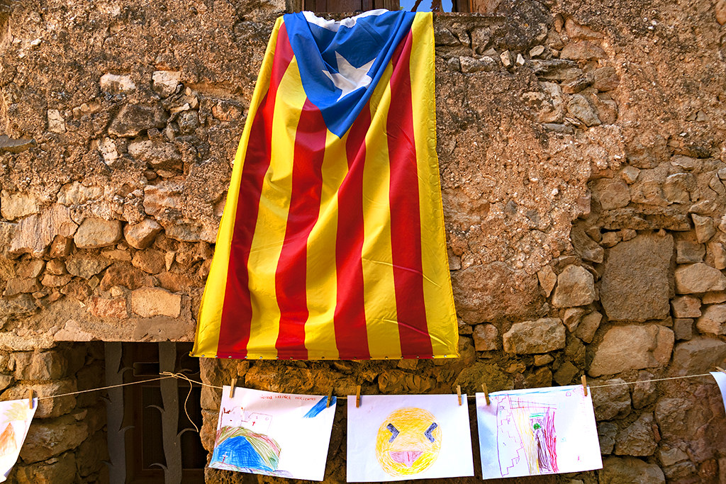 Flag and kids' drawings--Siurana