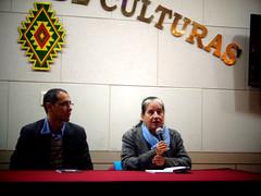 Edson Hurtado y Lupe Cajías en una presentación en La Paz.