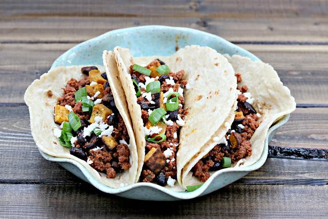 Chorizo, Black Bean, Sweet Tater Tacos