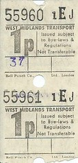 West Midlands Transport 1p Bus Tickets (Bell Punch)