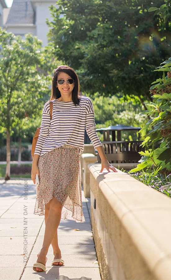 striped top, wrapped floral midi skirt, cognac brown tote, fringe slides with embellishments