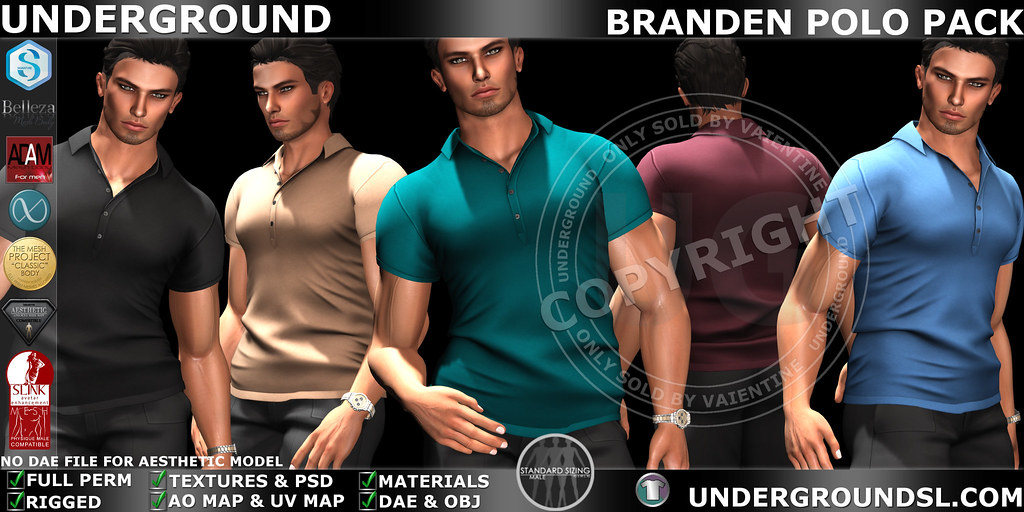 UG MESH BRANDEN POLO PACK MP - SecondLifeHub.com