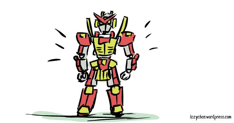 red yellow robot toy