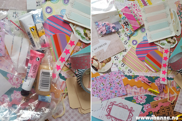 Online swapping: Pink and yellow watercolors + pretty papers that I got in a personal swap