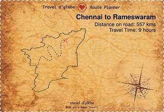 Map from Chennai to Rameswaram