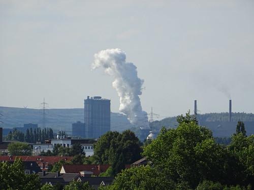 Dampfwolke beim Abkühlen von Koks