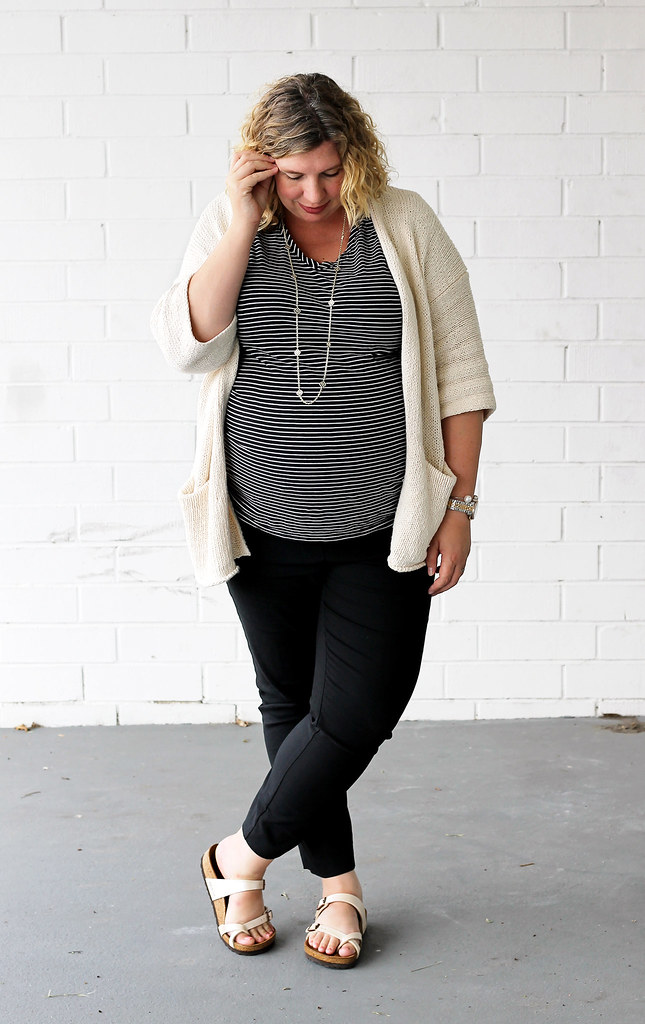 maternity black pants, black and white stripe tee, kimono cardigan, birkenstocks 6