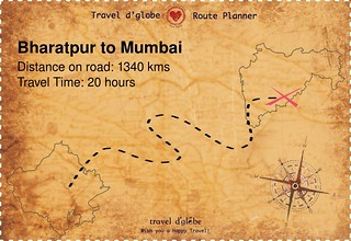 Map from Bharatpur to Mumbai