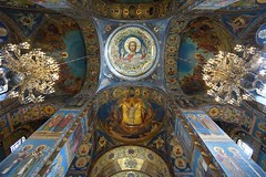 Interior of Church of the Savior on Spilled Blood in Saint Petersburg, Russia