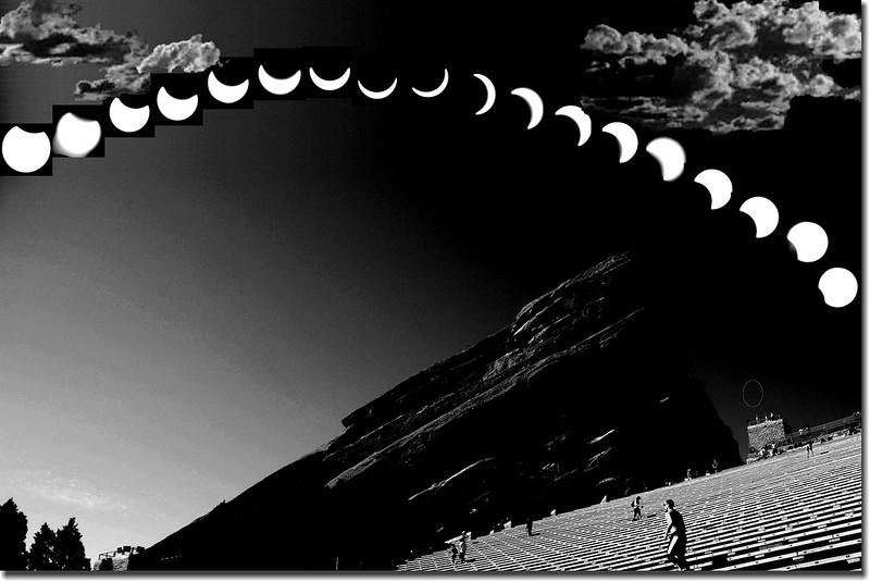 Solar eclipse,taken from Red Rocks Park, Denver(2017.08.21)