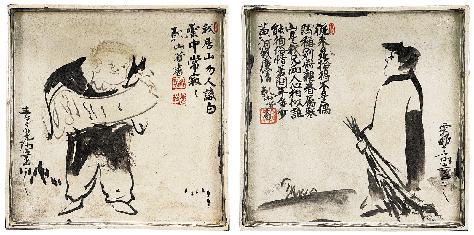 重要文化財《銹絵寒山拾得図角皿》(江戸時代、京都国立博物館、全期間)
