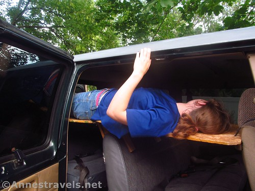 Using the longer, foldable van bunkbed