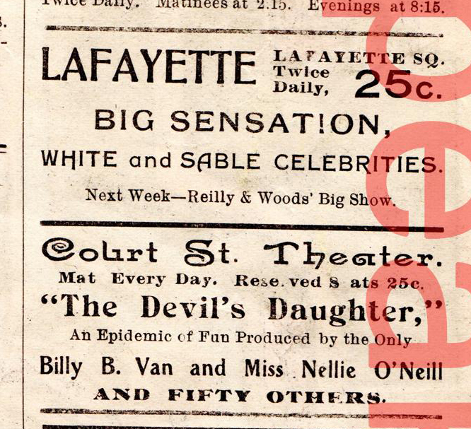 "Billy B Van ""The Devils Daughter"" 1901 Buffalo NY"