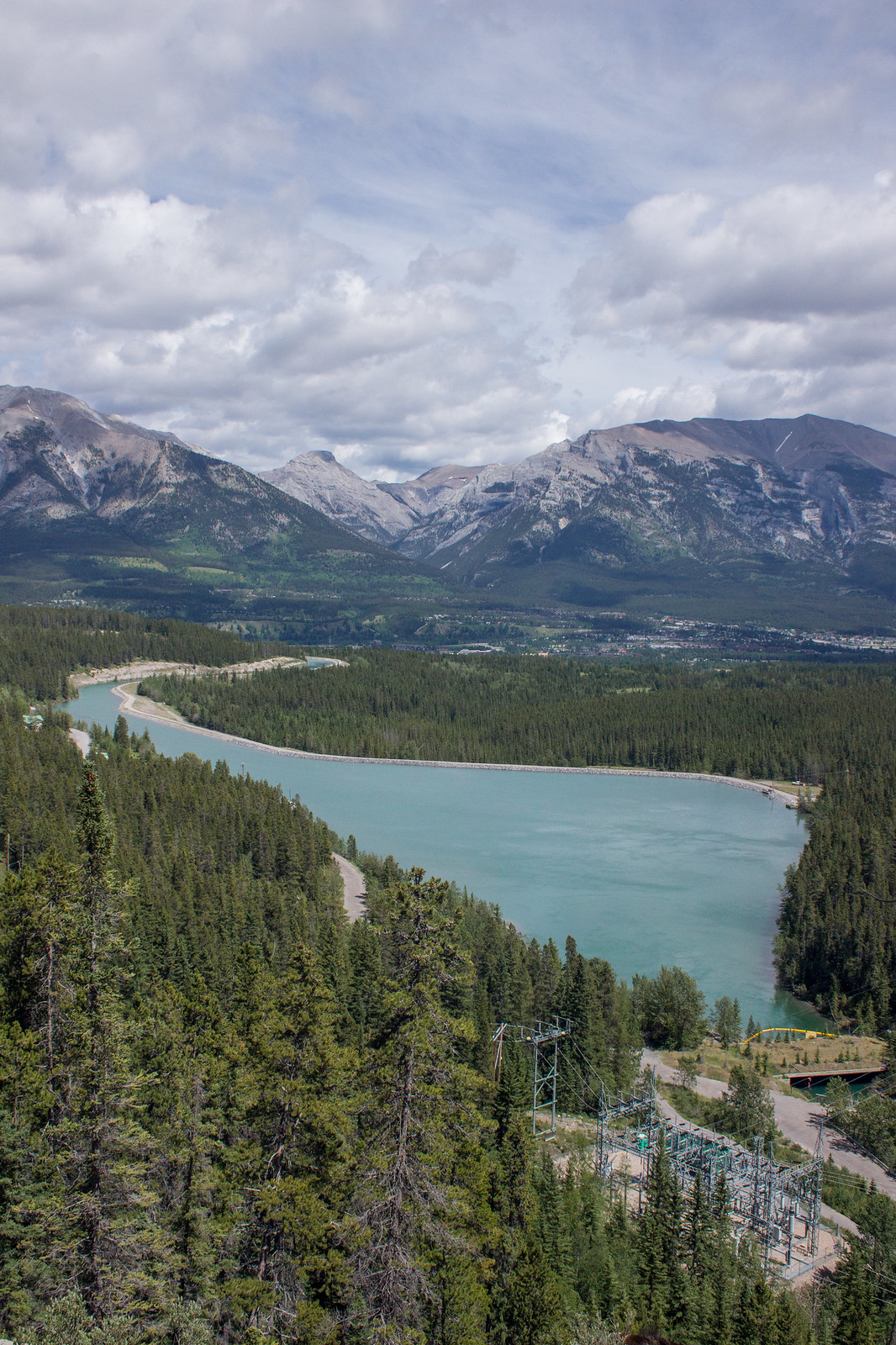 The view over Canmore from the Grassi Lakes trail