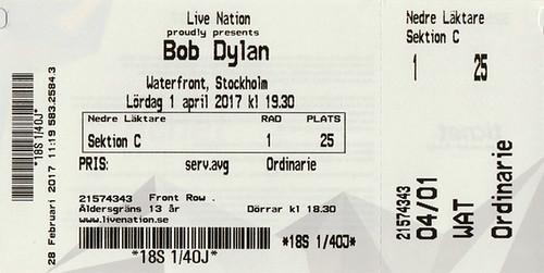 Bob Dylan - Stockholm, Sweden (04/01/17)