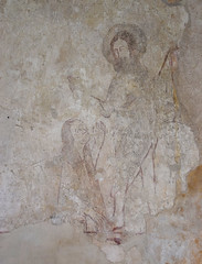 wall painting: Mary Magdalene anoints the feet of Christ (15th Century)
